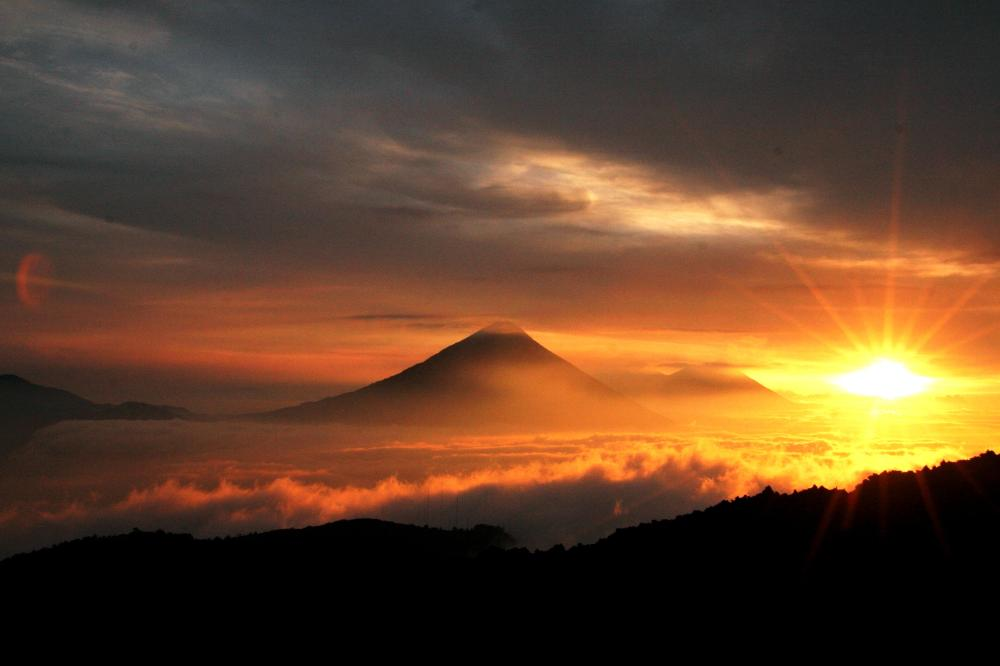 Beautiful sunrise over volcanoes in guatemala