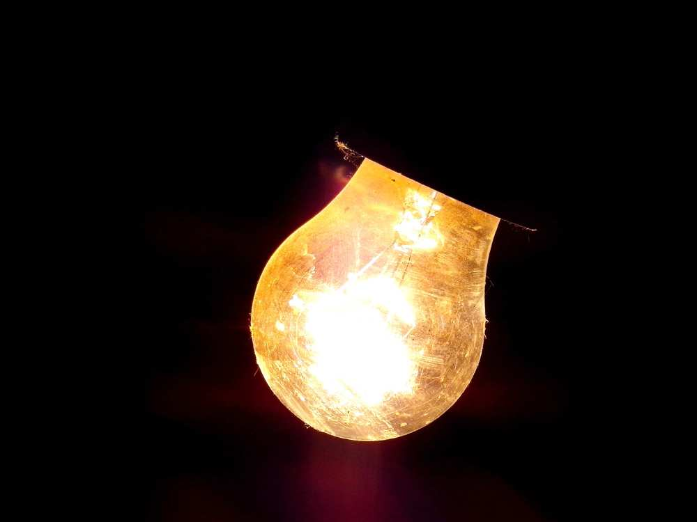 Light bulb in darkness