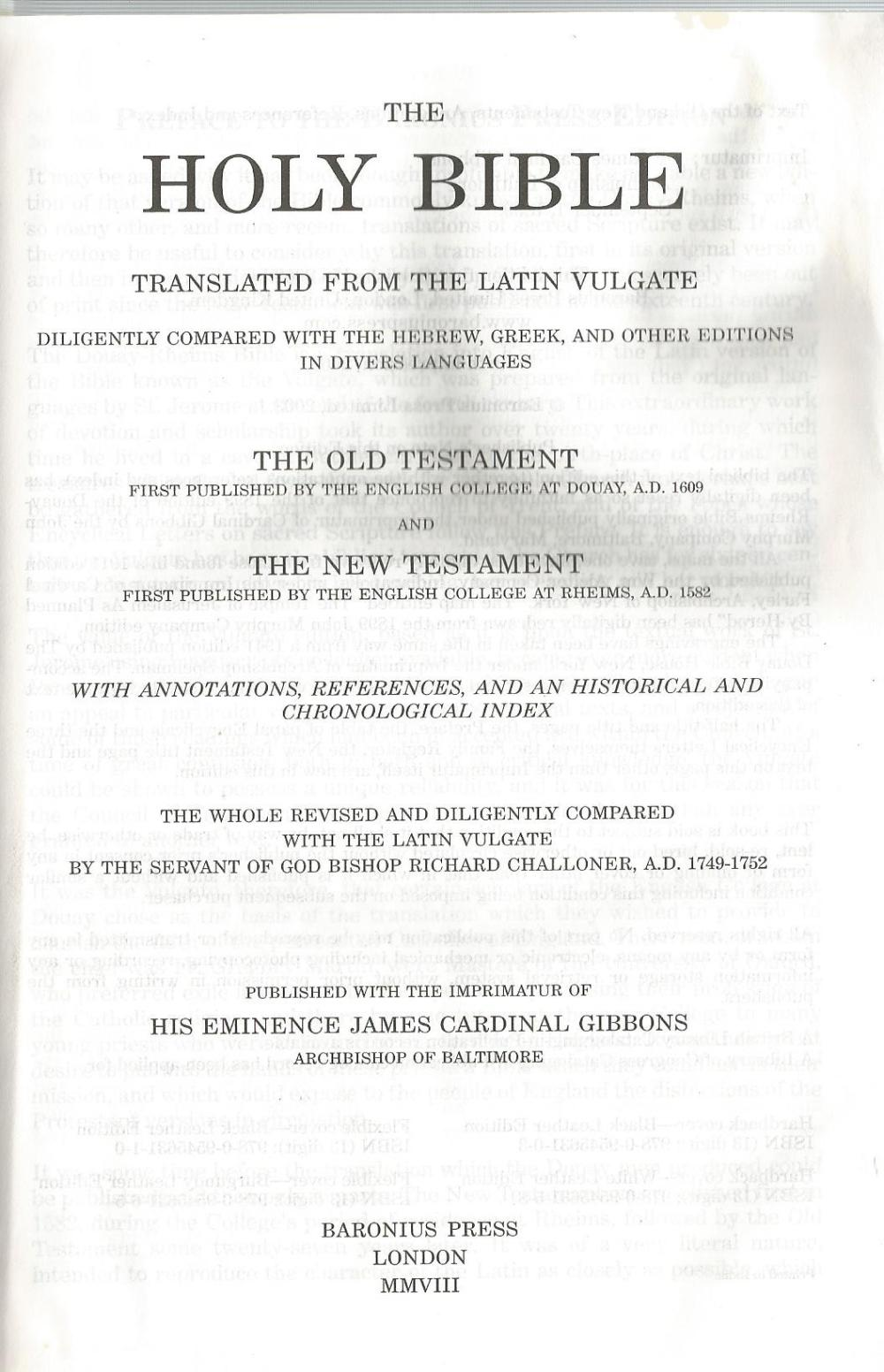Douay-Rheims Bible Title Page